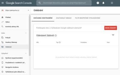 Odstraňovací nástroj v Google Search Console